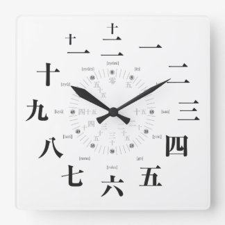 Japan kanji style [white face] square wall clock