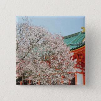 Japan, Kyoto. Cherry blossom of Shinto 15 Cm Square Badge