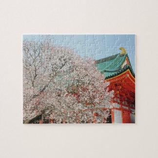 Japan, Kyoto. Cherry blossom of Shinto Jigsaw Puzzle
