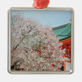 Japan, Kyoto. Cherry blossom of Shinto Silver-Colored Square Decoration