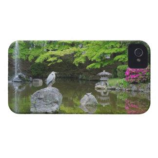 Japan, Kyoto. Heron in fresh green leaves iPhone 4 Case-Mate Case