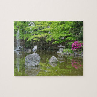 Japan, Kyoto. Heron in fresh green leaves Jigsaw Puzzle