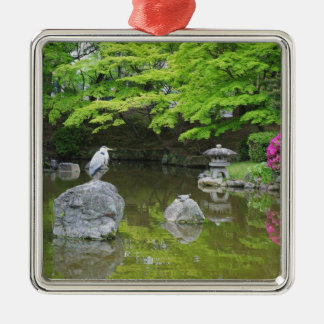 Japan, Kyoto. Heron in fresh green leaves Silver-Colored Square Decoration