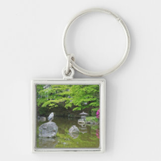 Japan, Kyoto. Heron in fresh green leaves Silver-Colored Square Key Ring