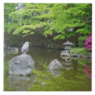 Japan, Kyoto. Heron in fresh green leaves Tile