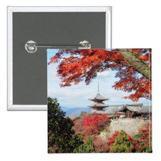 Japan, Kyoto. Kiyomizu temple in Autumn color 15 Cm Square Badge