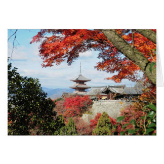 Japan, Kyoto. Kiyomizu temple in Autumn color Card