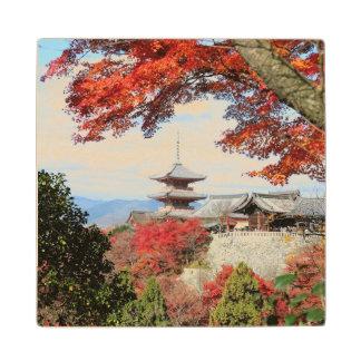 Japan, Kyoto. Kiyomizu temple in Autumn color Maple Wood Coaster