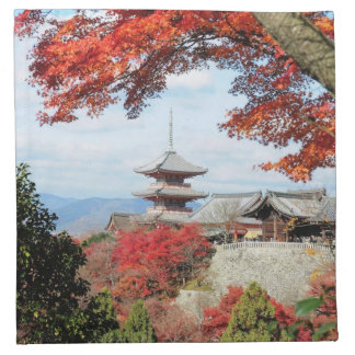 Japan, Kyoto. Kiyomizu temple in Autumn color Napkin