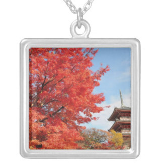 Japan, Kyoto. Kiyomizu temple in Autumn color Silver Plated Necklace