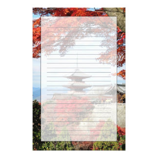 Japan, Kyoto. Kiyomizu temple in Autumn color Stationery