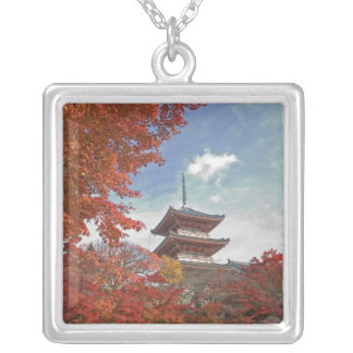 Japan, Kyoto, Pagoda in Autumn colour Silver Plated Necklace
