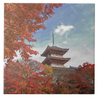 Japan, Kyoto, Pagoda in Autumn colour Tile