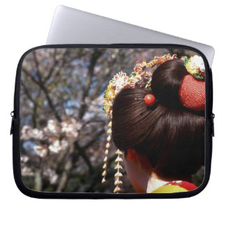 Japan, Kyoto. Rear view close-up of geisha's Laptop Sleeve