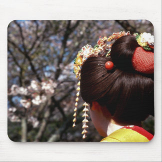 Japan, Kyoto. Rear view close-up of geisha's Mouse Pad