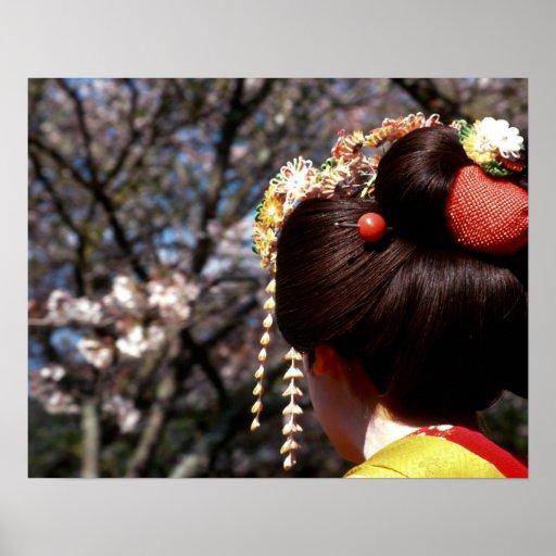 Japan, Kyoto. Rear view close-up of geisha's Posters