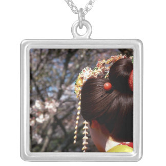 Japan, Kyoto. Rear view close-up of geisha's Silver Plated Necklace