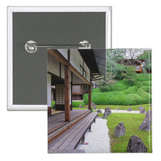 Japan, Kyoto. Stone garden in silence 15 Cm Square Badge