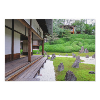 Japan, Kyoto. Stone garden in silence Photographic Print