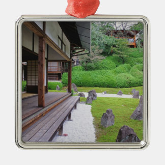 Japan, Kyoto. Stone garden in silence Silver-Colored Square Decoration