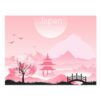 Japan landscape illustration in pink tones postcard