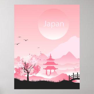 Japan landscape illustration in pink tones poster