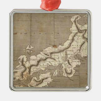 Japan Map by Arrowsmith Silver-Colored Square Decoration