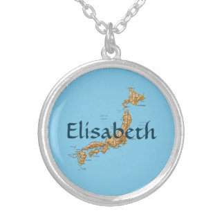 Japan Map + Name Necklace