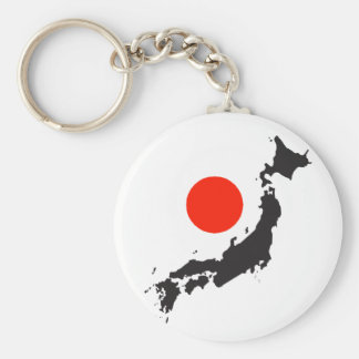 Japan map outline and circle key chain