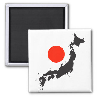 Japan map outline and circle square magnet