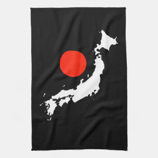 Japan map outline and red circle from flag tea towel