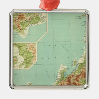 Japan map with shipping routes ornaments