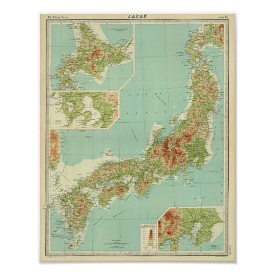 Japan map with shipping routes poster