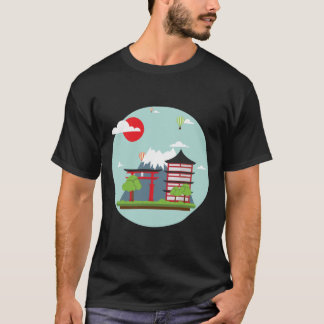 Japan Mount Fuji Illustration T-Shirt