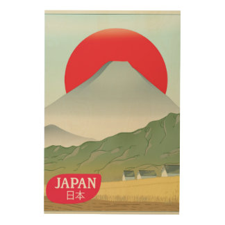 Japan mountain vintage travel poster
