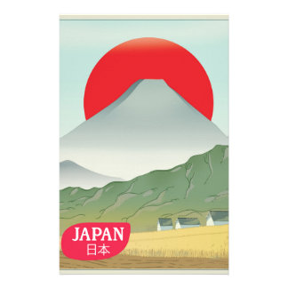 Japan mountain vintage travel poster stationery