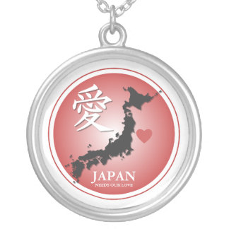 JAPAN NEEDS OUR LOVE SILVER PLATED NECKLACE