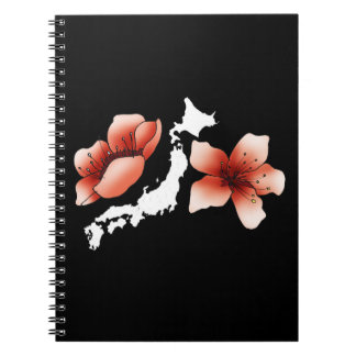 Japan notebook with flowers of cherry trees and