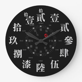 Japan old kanji style [black face] large clock