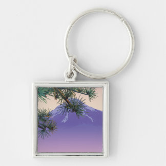 Japan Pine Mountain Silver-Colored Square Key Ring