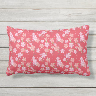 Japan. Pink Cherry Blossom Floral Flowers. Lumbar Cushion
