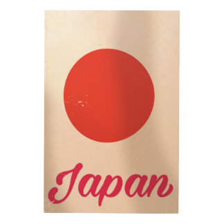Japan Rising Sun vintage style travel poster Wood Canvas