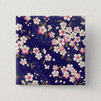 Japan, Sakura, Kimono, Origami, Chiyogami, Flower, 15 Cm Square Badge