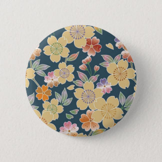 Japan, Sakura, Kimono, Origami, Chiyogami, Flower, 6 Cm Round Badge