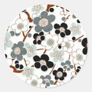 Japan, Sakura, Kimono, Origami, Chiyogami, Flower, Round Sticker