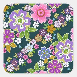 Japan, Sakura, Kimono, Origami, Chiyogami, Flower, Square Sticker