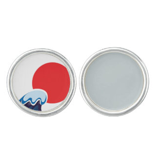 Japan sun with Mare wave Cufflinks