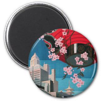 Japan Tokyo Vintage Japanese Travel Poster 6 Cm Round Magnet