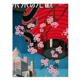 Japan Tokyo Vintage Japanese Travel Poster Postcard