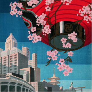 Japan Tokyo Vintage Japanese Travel Poster Standing Photo Sculpture